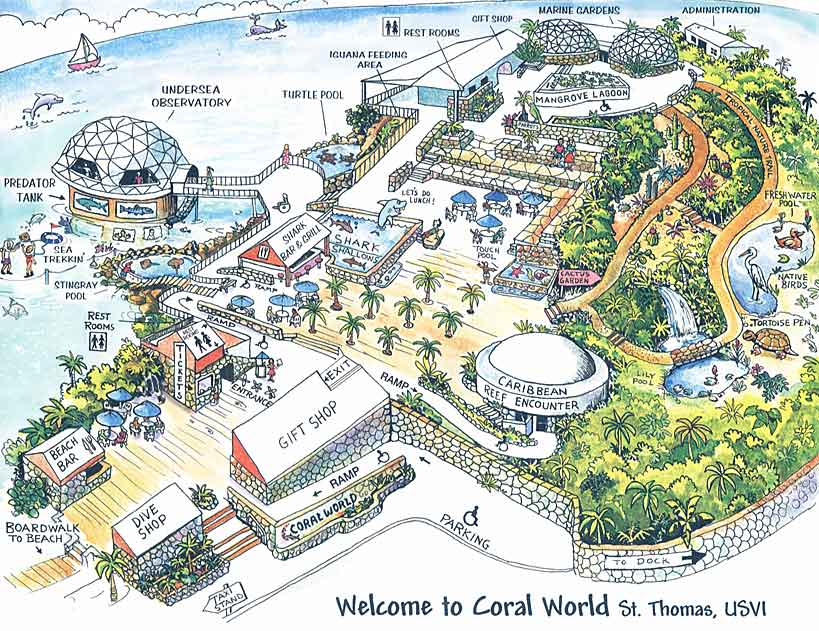 st thomas coral world map